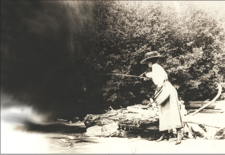 Mabel Fox Downer fishing near Allenspark