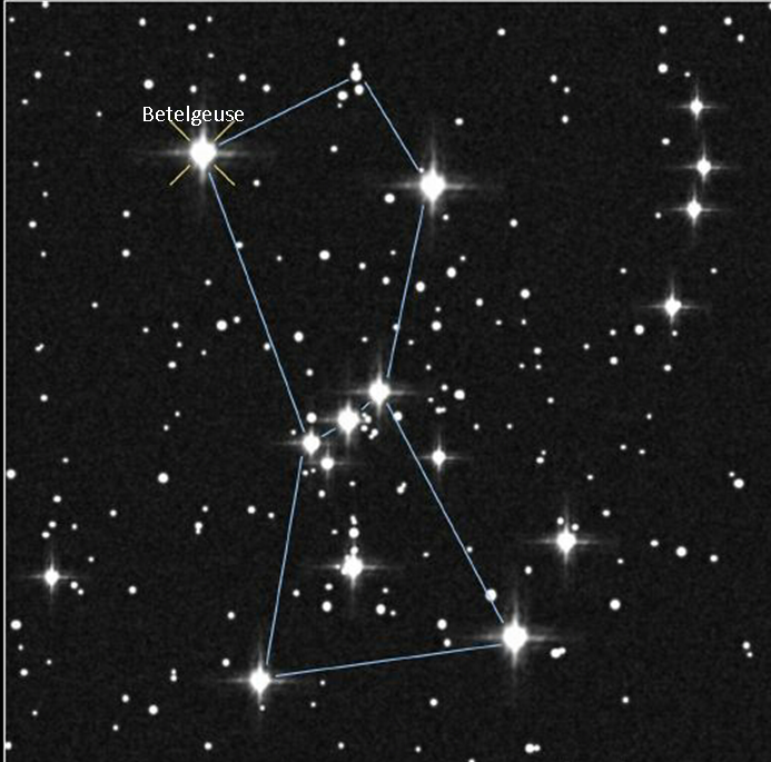 The constellation Orion is one of the most recognizable in the sky. The large star Betelgeuse marks Orion's shoulder. (photo nasa.gov)