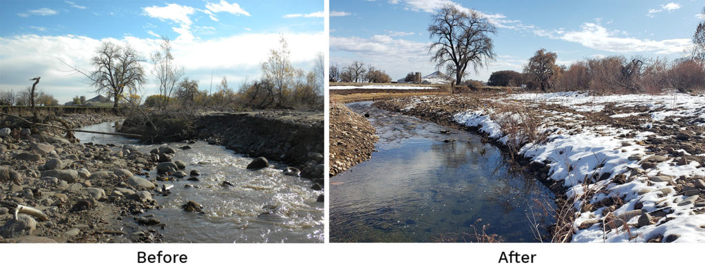 Before and after photos at the Brewbaker Sorenson property